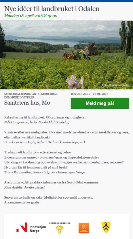 invitasjon til landbruksmøte