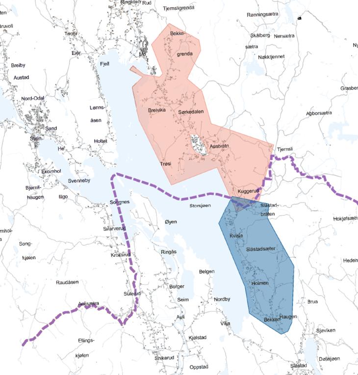 Kart over utbyggingsområdet
