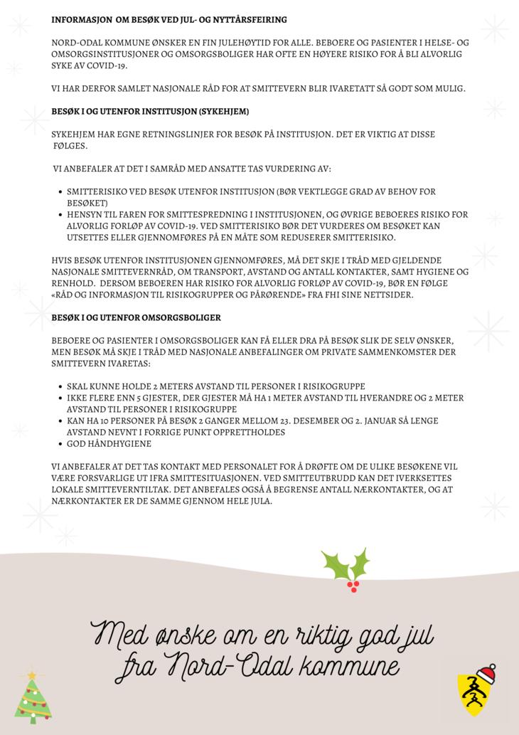 Informasjonsplakat besøk i institusjoner og omsorgsboliger jul 2020