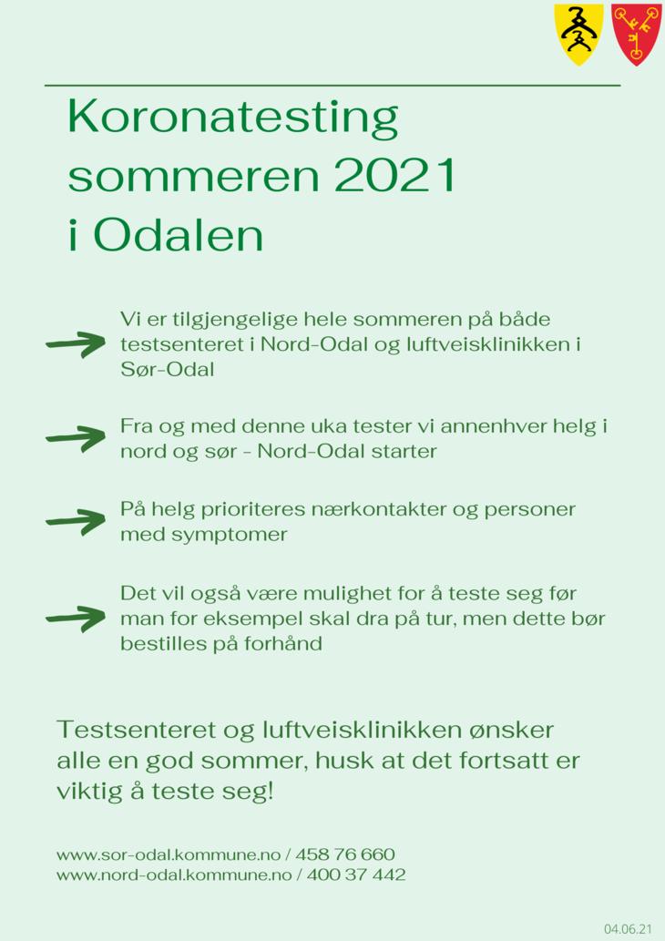 Koronatesting sommeren 2021 plakat